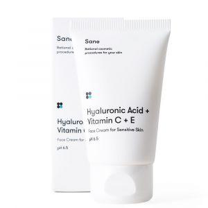 Крем для чувствительной кожи лица Sane с гиалуроновой кислотой + витамин С + Е