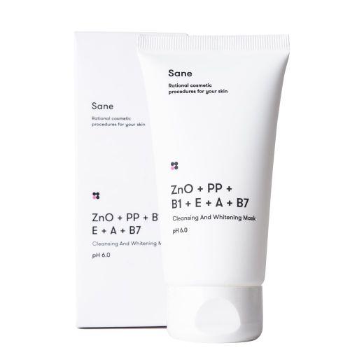 Маска для лица очищающая и отбеливающая Sane с оксидом цинка + витамины РР В1 Е А В7